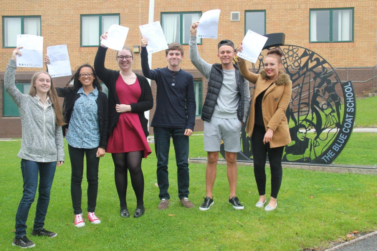 Blue Coat pupils celebrating GCSE results 2015