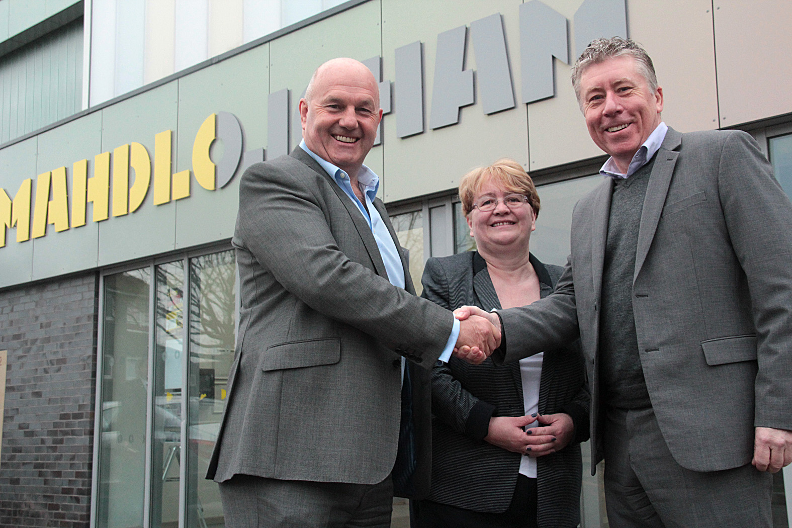 """Heathcote1"" – Celebrity chef Paul Heathcote (pictured right) with Terry Flanagan (Chair of the Board for Mahdlo) and Councillor Jean Stretton (Oldham Council Deputy Leader) at the latest Business Network Breakfast at Mahdlo in Oldham."