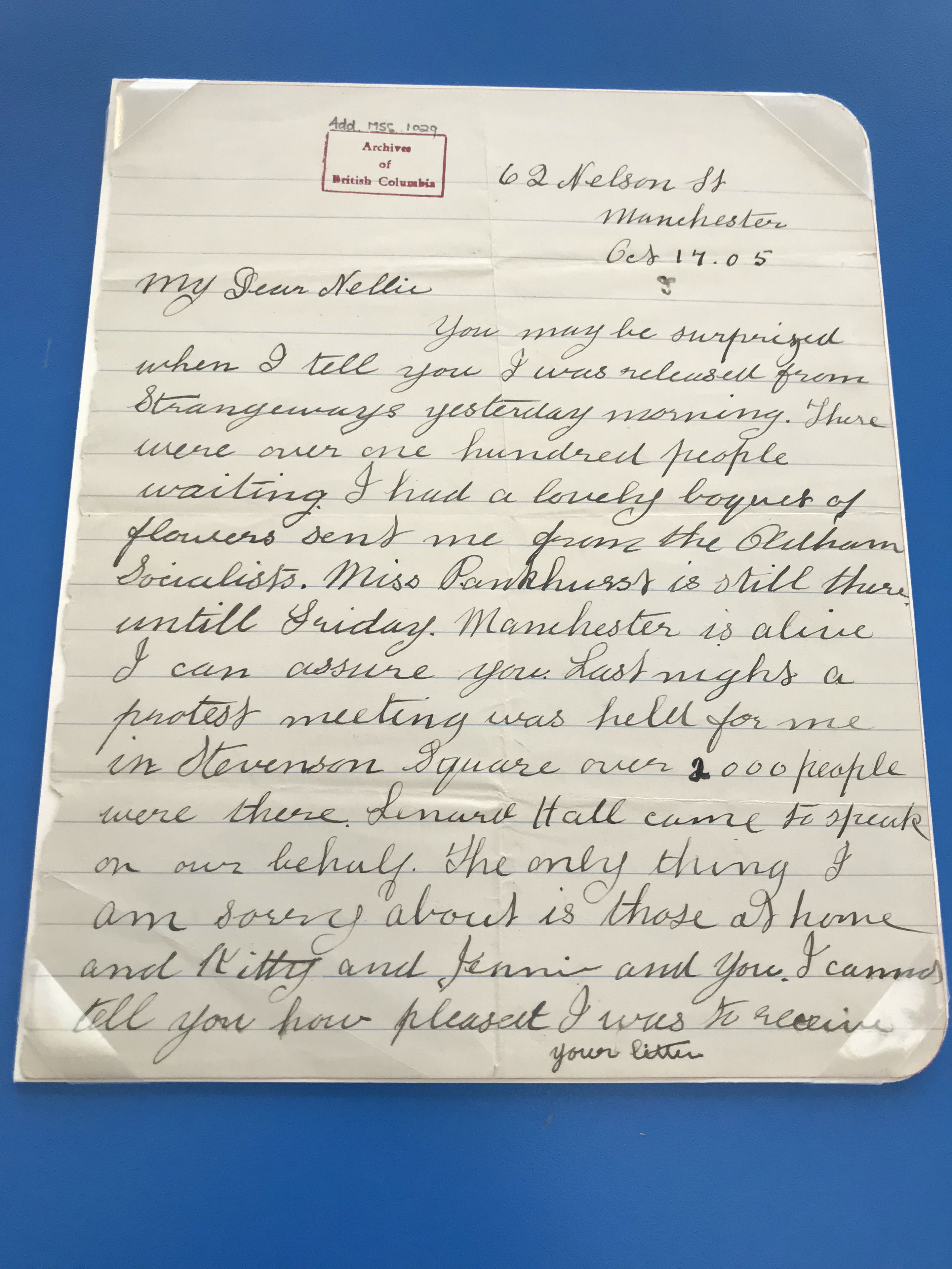 First page of Annie Kenney's letter