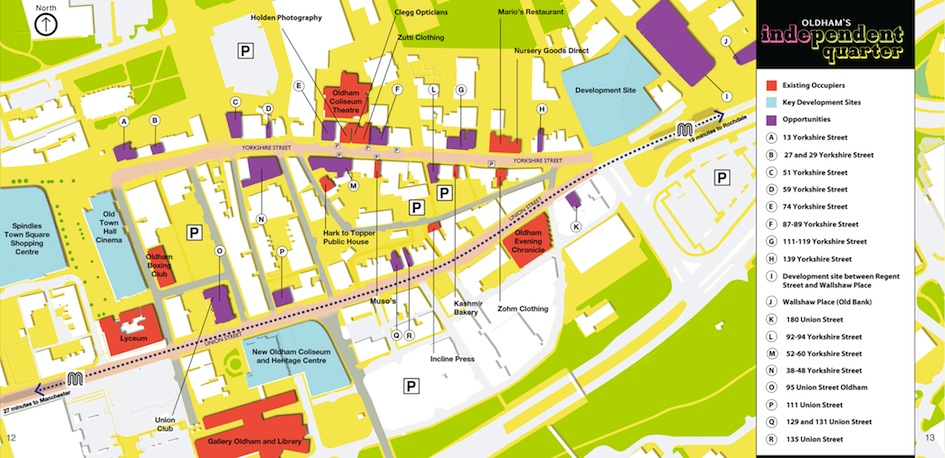 Map of the Independent Quarter in Oldham