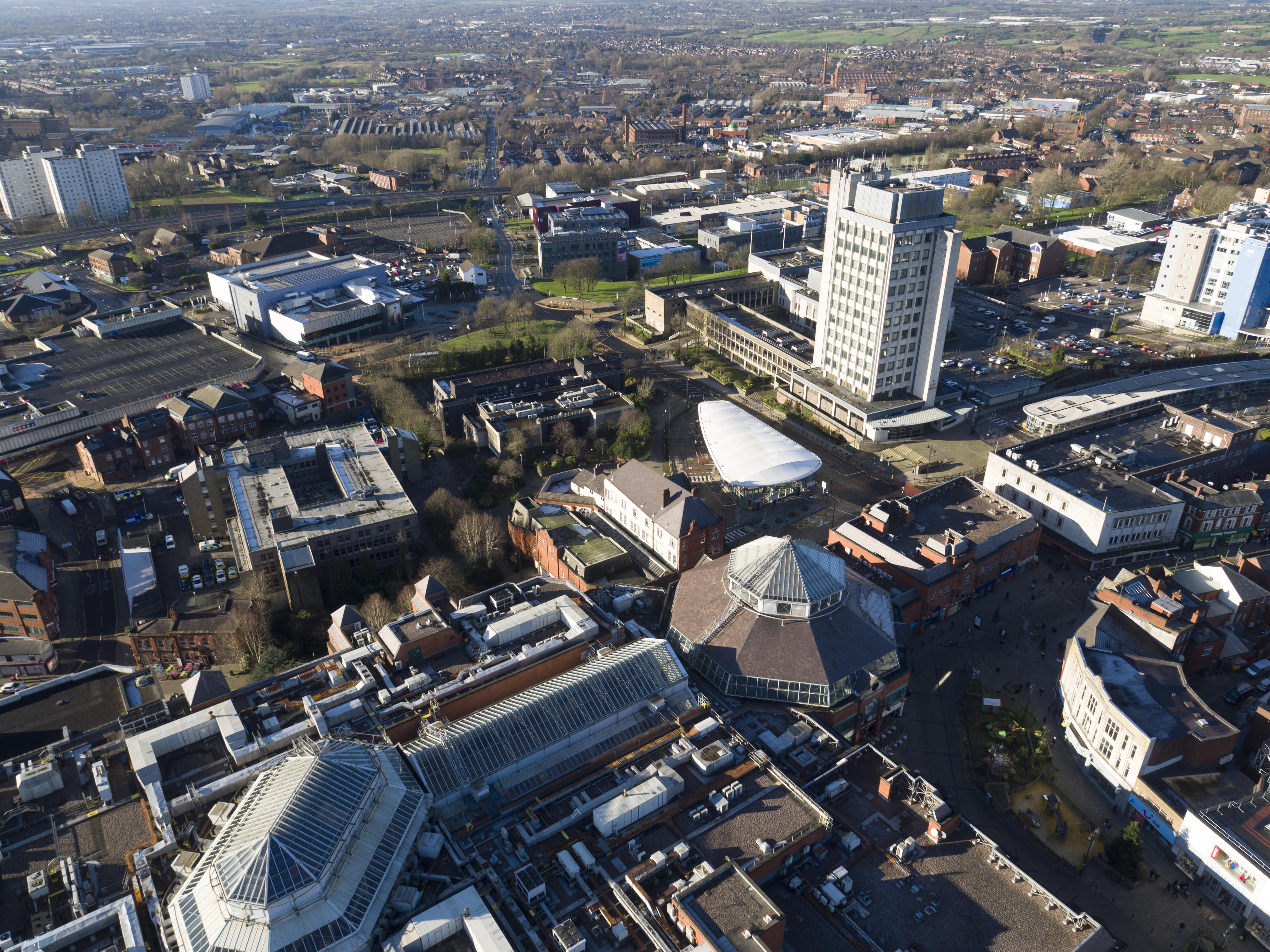 Oldham town centre aerial view