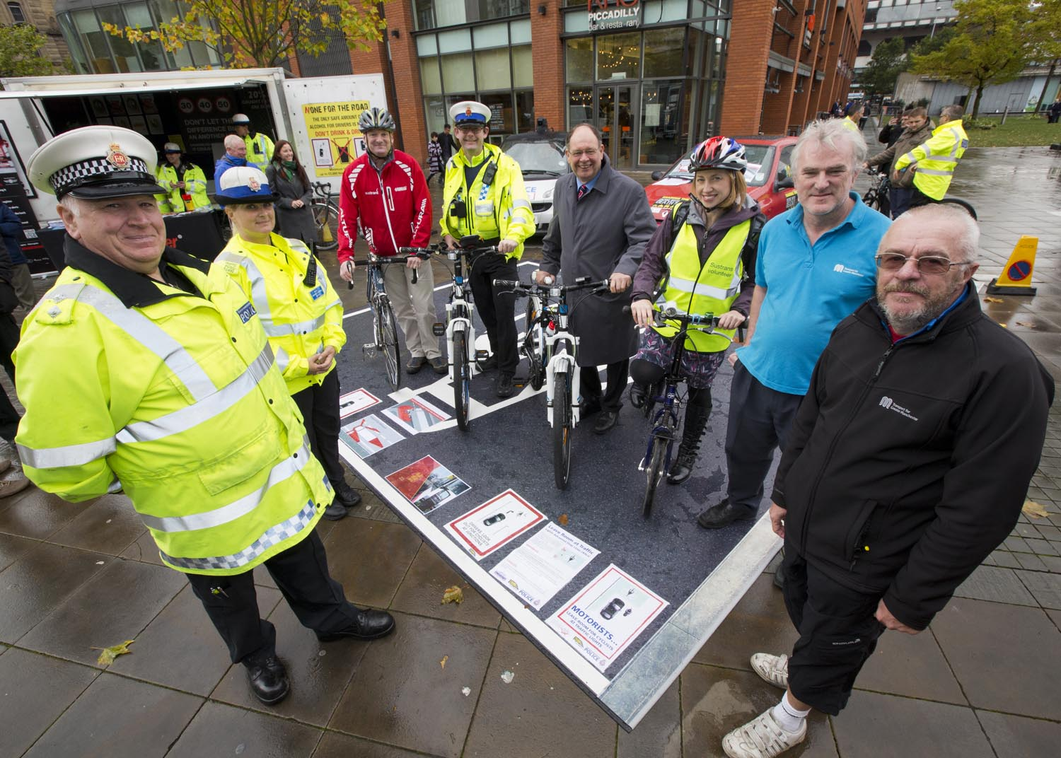 Road safety event by GMP at Piccadilly. Linked to Oldham's Winter Road Ready event on 01/11/14