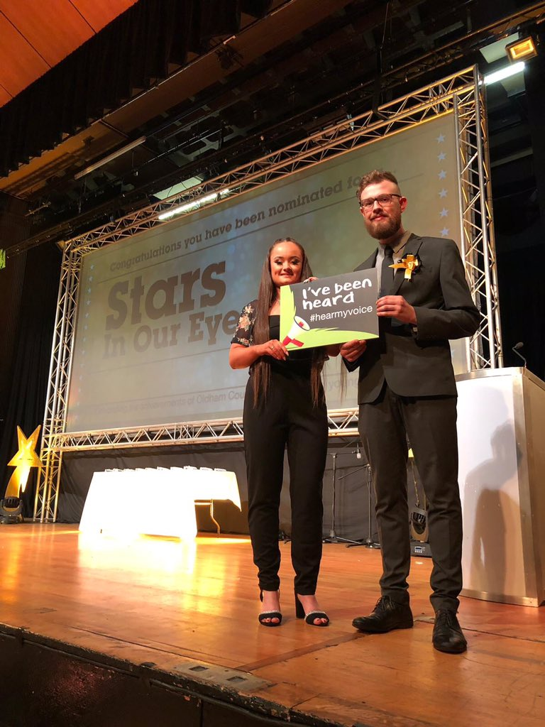 Tia Henderson and Sam Coupe, of Oldham Youth Council and Oldham's Children in Care Council, presenting this month's Stars in our Eyes event in Oldham.