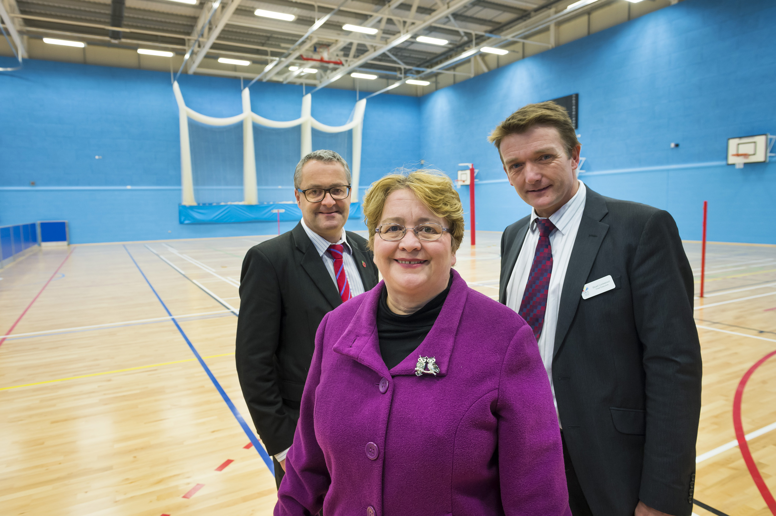 Leisure1 – (from left to right) Anthony Dillon (Willmott Dixon Northern Managing Director), Councillor Jean Stretton (Oldham Council Deputy Leader) and Stuart Lockwood (Oldham Community Leisure Chief Executive) in the new eight court sports hall.
