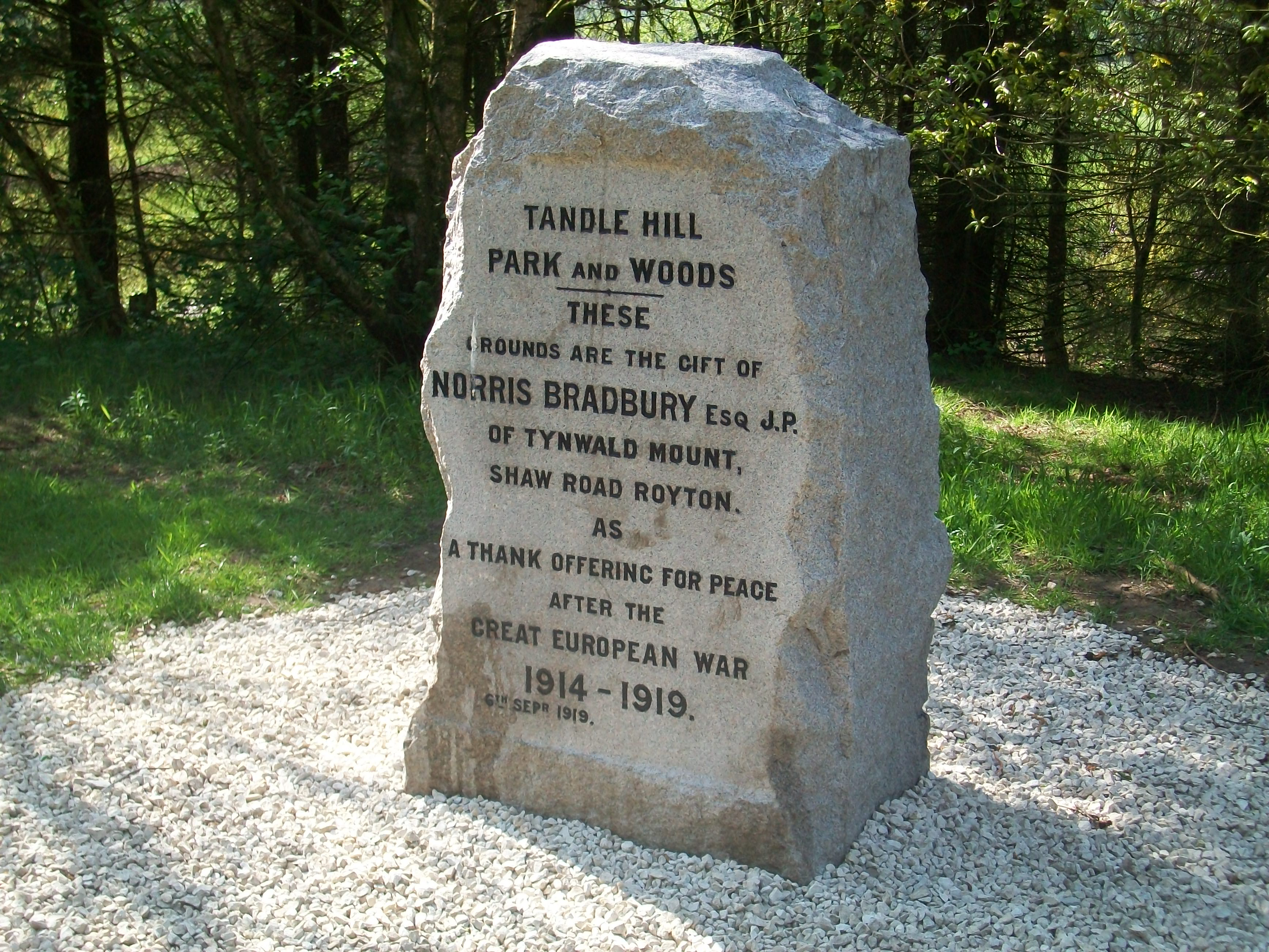 Tandle Hill Peace marker