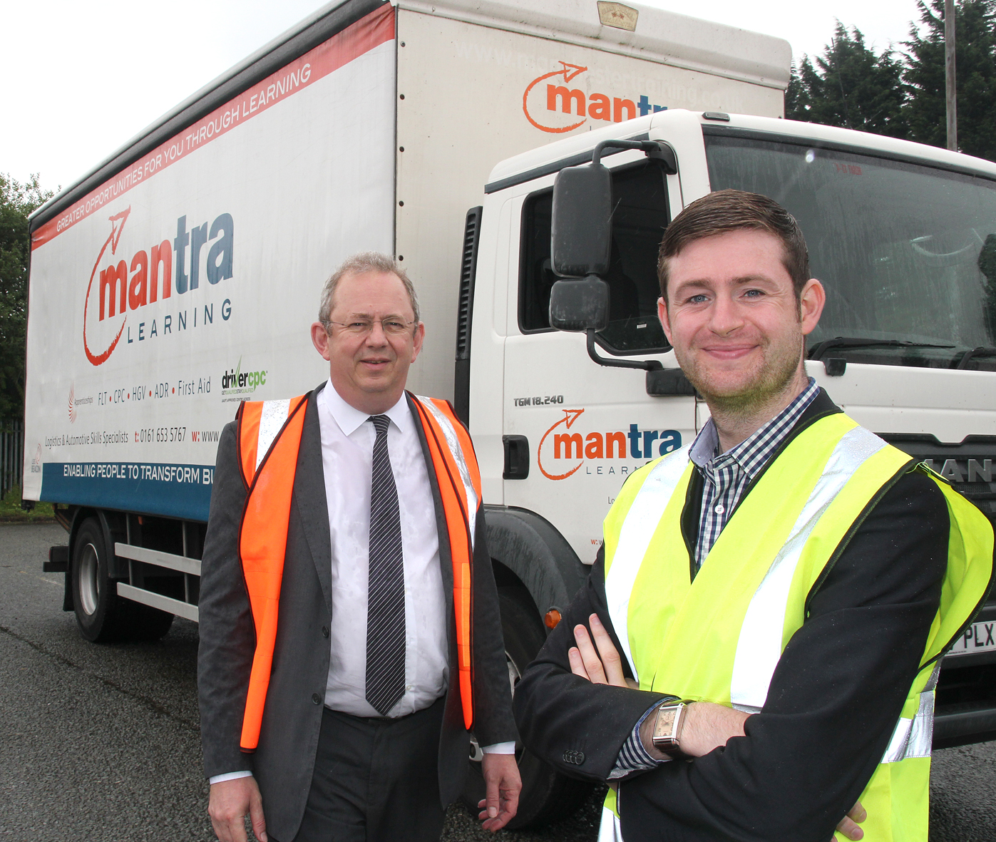 Councillor Jim McMahon, Oldham Council Leader (right) with Richard Weston, Mantra Learning Limited's Marketing Manager.